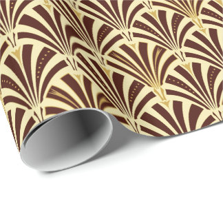 Art Deco fan pattern - chocolate on cream Wrapping Paper