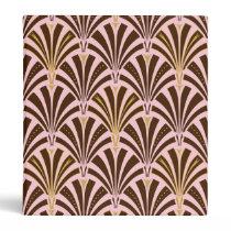Art Deco fan pattern - chocolate on pink 3 Ring Binder