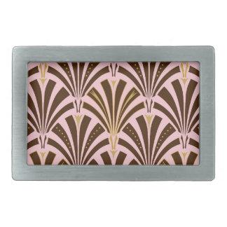 Art Deco fan pattern - chocolate on pink Belt Buckle