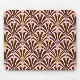 Art Deco fan pattern - chocolate on pink Mouse Pad