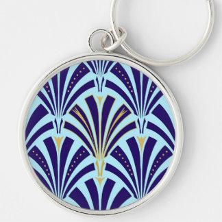 Art Deco fan pattern - cobalt and sky blue Keychain