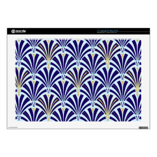 Art Deco fan pattern - cobalt and sky blue Laptop Skin