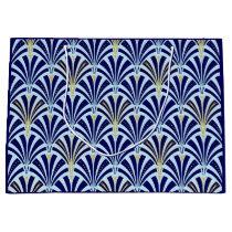 Art Deco fan pattern - cobalt and sky blue Large Gift Bag