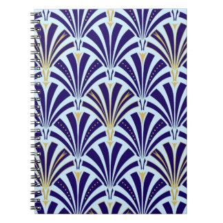 Art Deco fan pattern - cobalt and sky blue Notebook