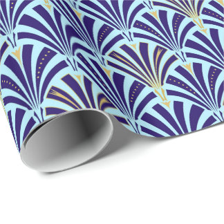 Art Deco fan pattern - cobalt and sky blue Wrapping Paper