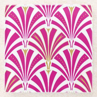 Art Deco fan pattern - fuchsia pink Glass Coaster
