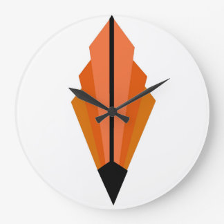Art Deco Fan Pattern in orange Large Clock