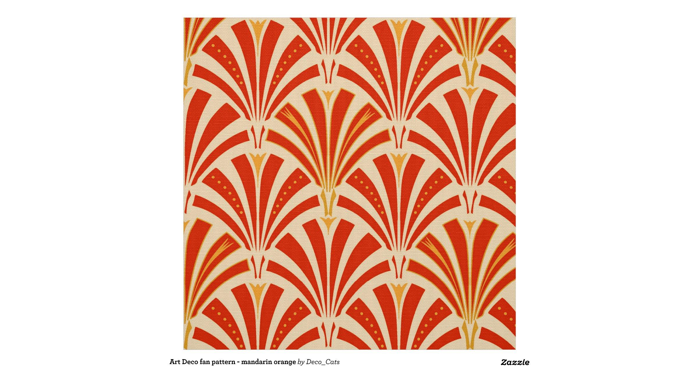 Art deco fan pattern mandarin orange fabric for Art deco fabric