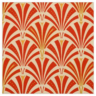 Art Deco fan pattern - mandarin orange Fabric