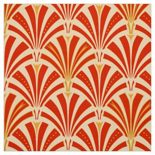 Art Deco Patterns: Art Deco Fan Pattern - Mandarin Orange Fabric