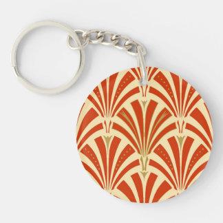 Art Deco fan pattern - mandarin orange Keychain