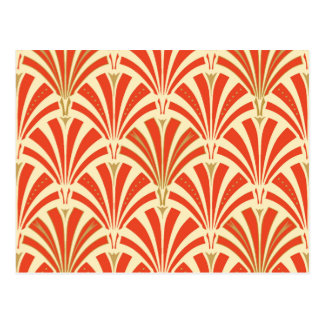 Art Deco fan pattern - mandarin orange Postcard