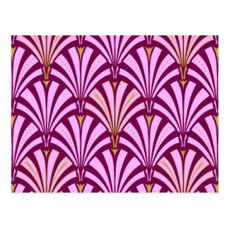 Art Deco fan pattern - orchid and purple Postcard