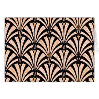 Art Deco fan pattern - peach on black Card