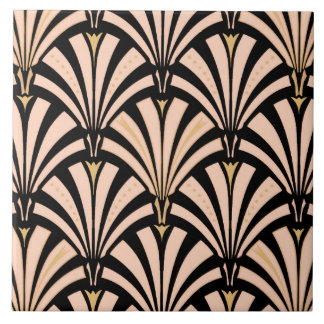 Art Deco fan pattern - peach on black Ceramic Tile