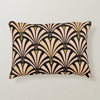 Art Deco fan pattern - peach on black Accent Pillow