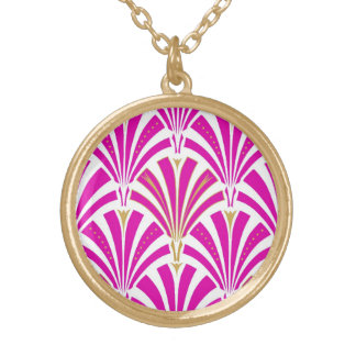 Art Deco fan pattern - peppermint pink Gold Plated Necklace