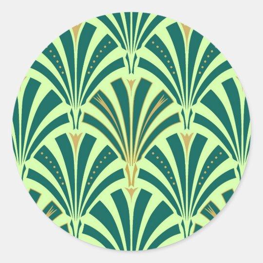 Art Deco Fan Pattern Pine And Mint Green Classic Round Sticker