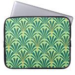 Art Deco fan pattern - pine and mint green Laptop Sleeves