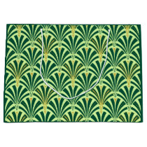 Art Deco fan pattern - pine and mint green Large Gift Bag