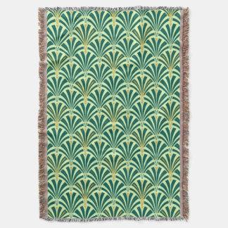 Art Deco fan pattern - pine and mint green Throw