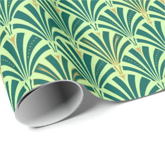 Art Deco fan pattern - pine and mint green Wrapping Paper