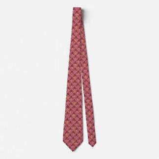 Art Deco fan pattern - pink and maroon Tie