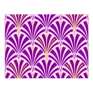 Art Deco fan pattern - purple and orchid Postcard