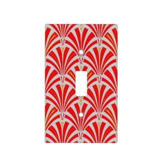 Art Deco fan pattern - red on pearl gray Light Switch Covers