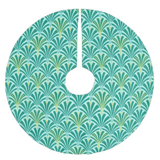 Art Deco fan pattern - turquoise on aqua Brushed Polyester Tree Skirt