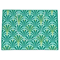 Art Deco fan pattern - turquoise on aqua Large Gift Bag