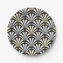 Art Deco fan pattern - white and black Paper Plate