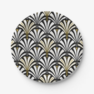Art Deco fan pattern - white and black Paper Plate