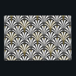 """Art Deco fan pattern - white and black Placemat<br><div class=""""desc"""">Digital reproduction of a classic,  Art Deco wallpaper,  fan pattern - white on black,  embellished with gold</div>"""