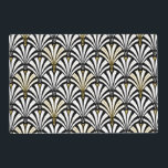 "Art Deco fan pattern - white and black Placemat<br><div class=""desc"">Digital reproduction of a classic,  Art Deco wallpaper,  fan pattern - white on black,  embellished with gold</div>"