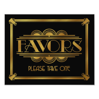 art deco Favor sign, wedding sign, party, gold Photo Print