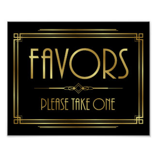 Art Deco FAVORS - PLEASE TAKE ONE Sign Print