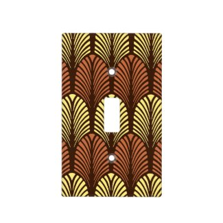 Art Deco Feather Pattern, Dark Brown and Rust Light Switch Cover