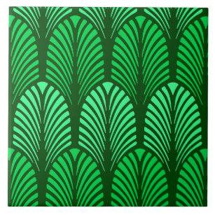 Art Deco Feather Pattern Emerald Green Ceramic Tile
