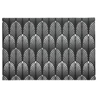 Art Deco Feather Pattern, Silver Gray and Black Doormat