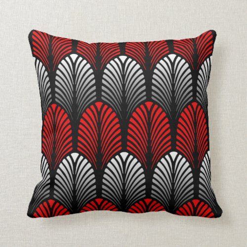 Art Deco Feather Pattern, Silver Gray and Red Throw Pillow