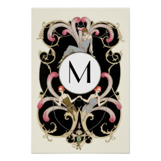 ART DECO FEATHERS ,BEAUTY FASHION COSTUME MONOGRAM POSTER