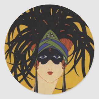 Art Deco Festive Lady Classic Round Sticker