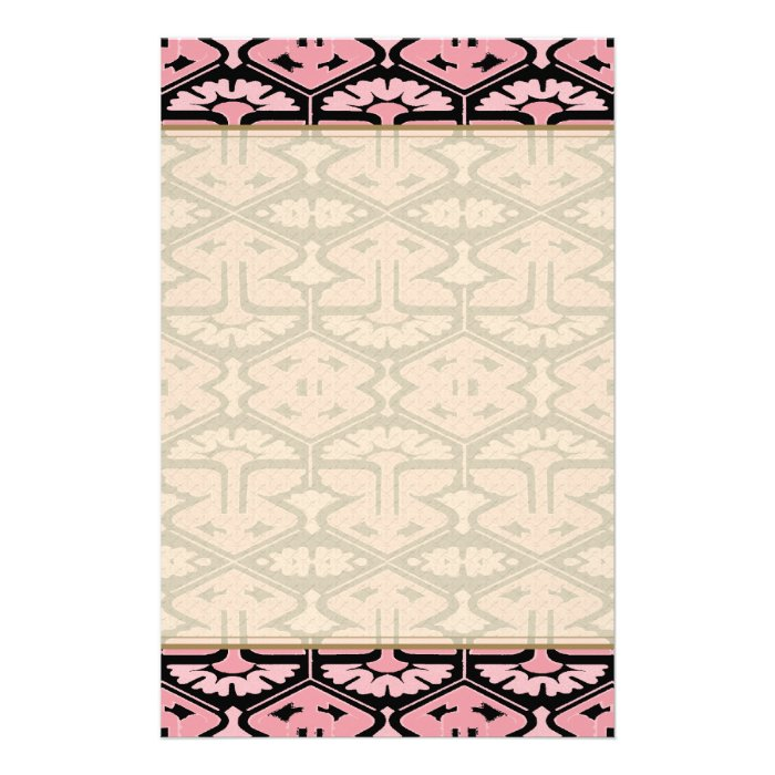 Art Deco Flair - Pink on Black Stationery