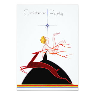 Art Deco Flapper And Deer Christmas Party Card at Zazzle