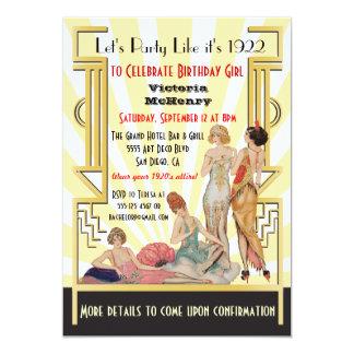 Art Deco Flapper girl party invitations