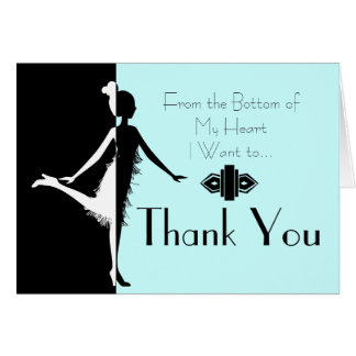 Art Deco Flapper Thank You Note Greeting Card