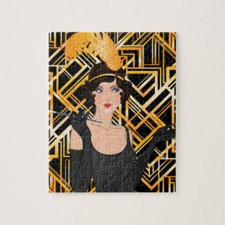 art deco, flipper girl, vintage,great Gatsby,chic Jigsaw Puzzle