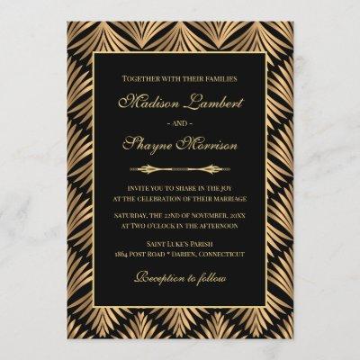 Art Deco Floral Black Gold Great Gatsby Wedding Invitation