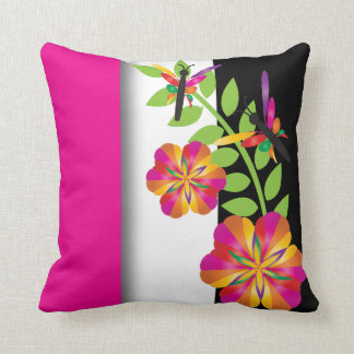 Art Deco Floral Colorful Dragonfly Throw Pillow